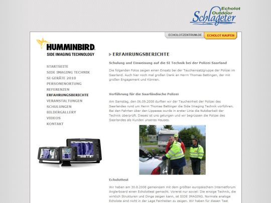Side Imaging Website: Artikelansicht